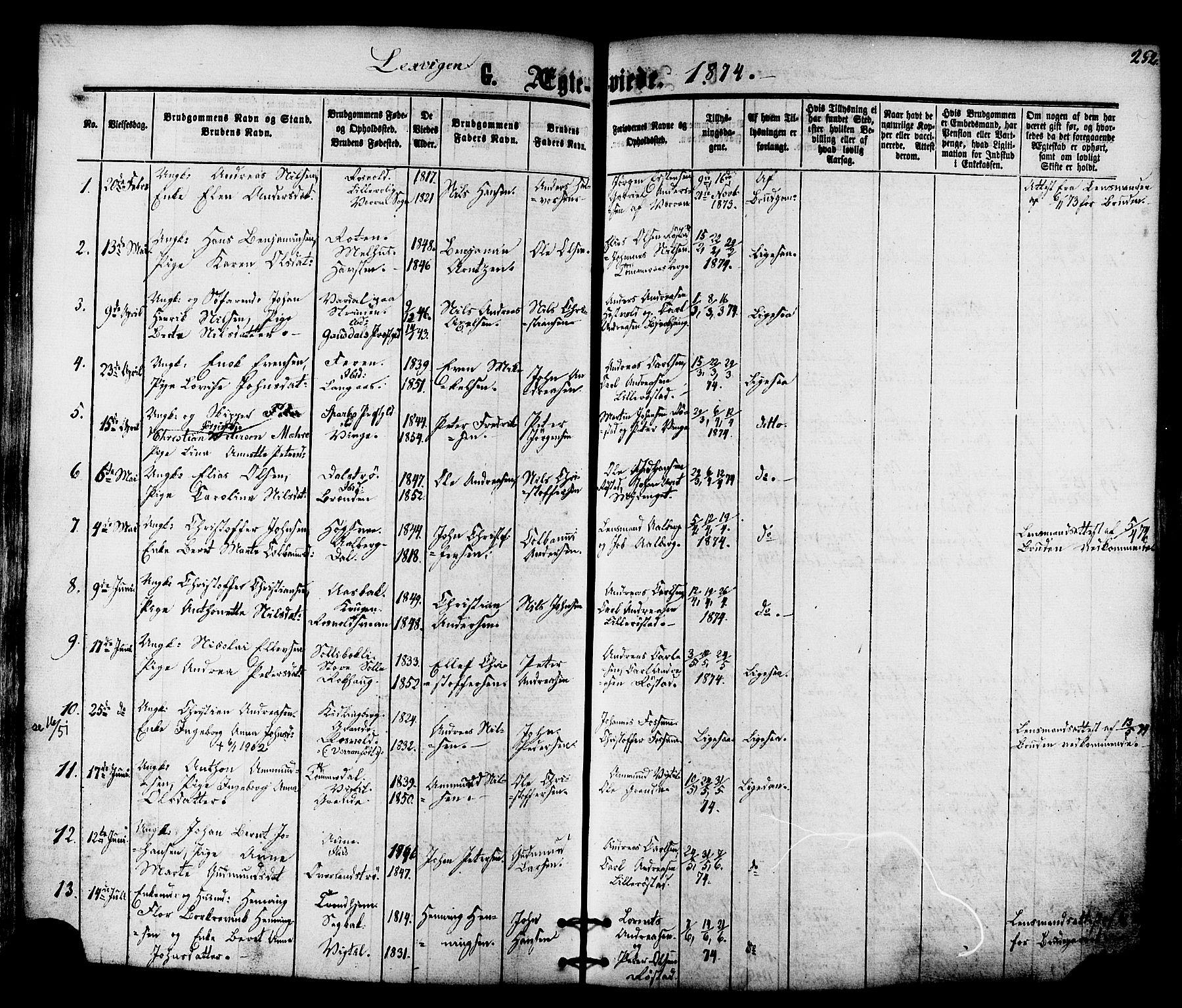 SAT, Ministerialprotokoller, klokkerbøker og fødselsregistre - Nord-Trøndelag, 701/L0009: Ministerialbok nr. 701A09 /1, 1864-1882, s. 252