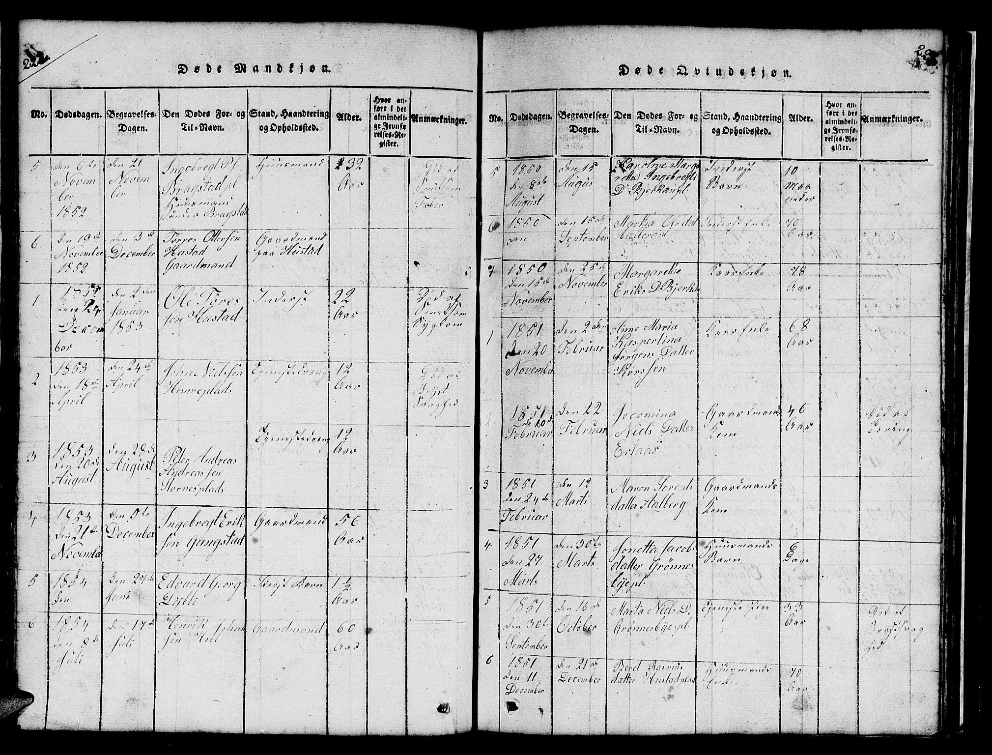 SAT, Ministerialprotokoller, klokkerbøker og fødselsregistre - Nord-Trøndelag, 732/L0317: Klokkerbok nr. 732C01, 1816-1881, s. 222-223