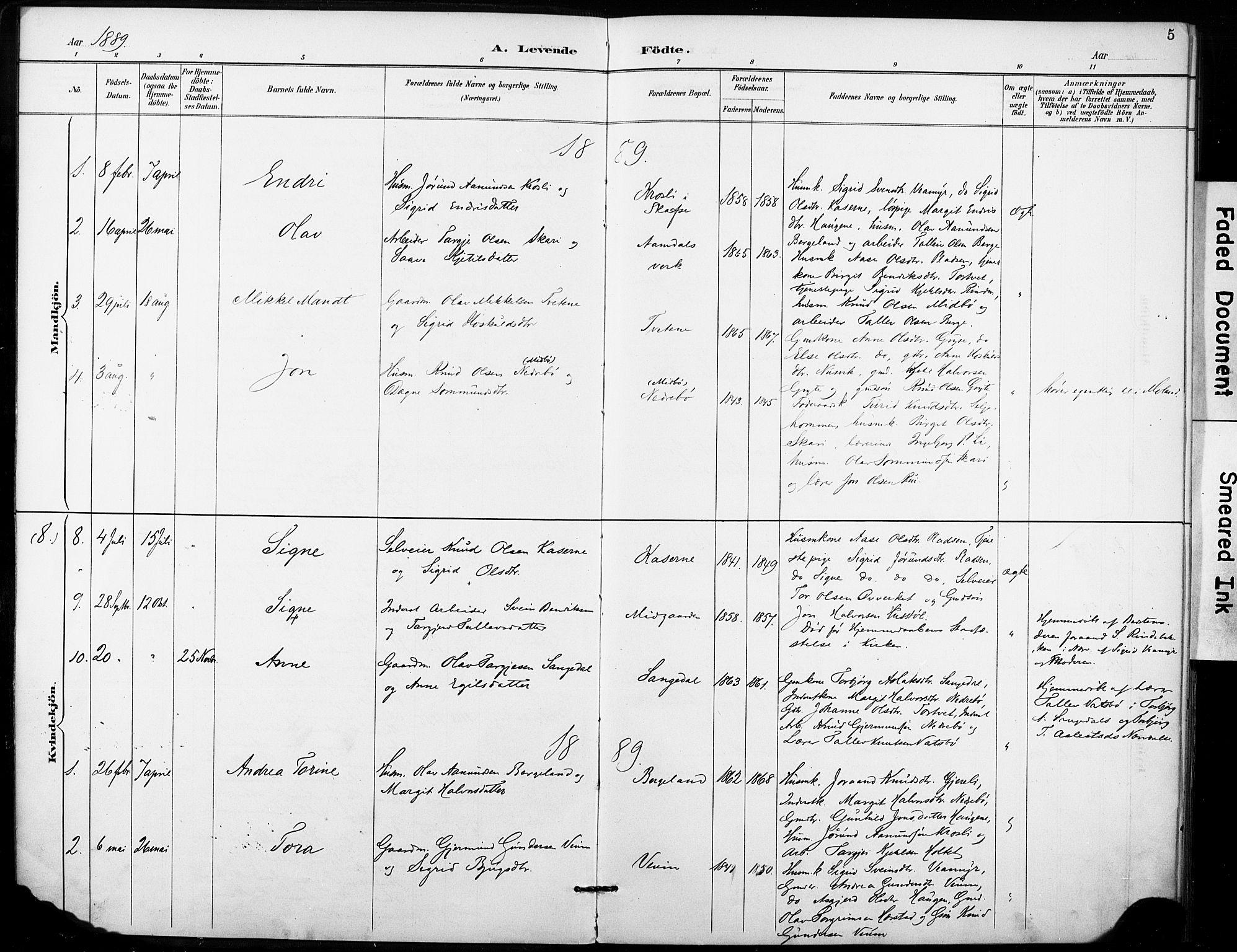 SAKO, Fyresdal kirkebøker, F/Fb/L0003: Ministerialbok nr. II 3, 1887-1903, s. 5