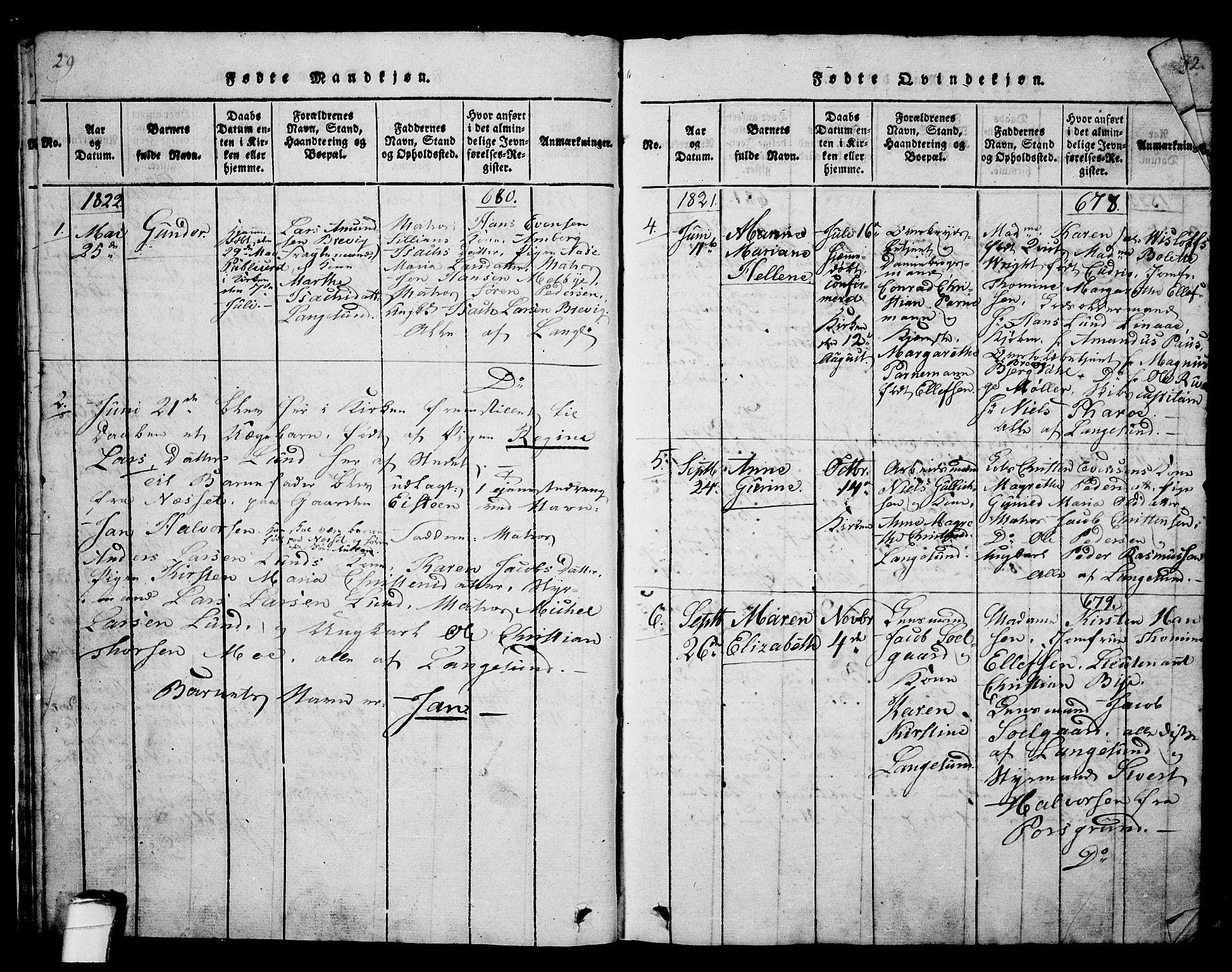 SAKO, Langesund kirkebøker, G/Ga/L0003: Klokkerbok nr. 3, 1815-1858, s. 29-30