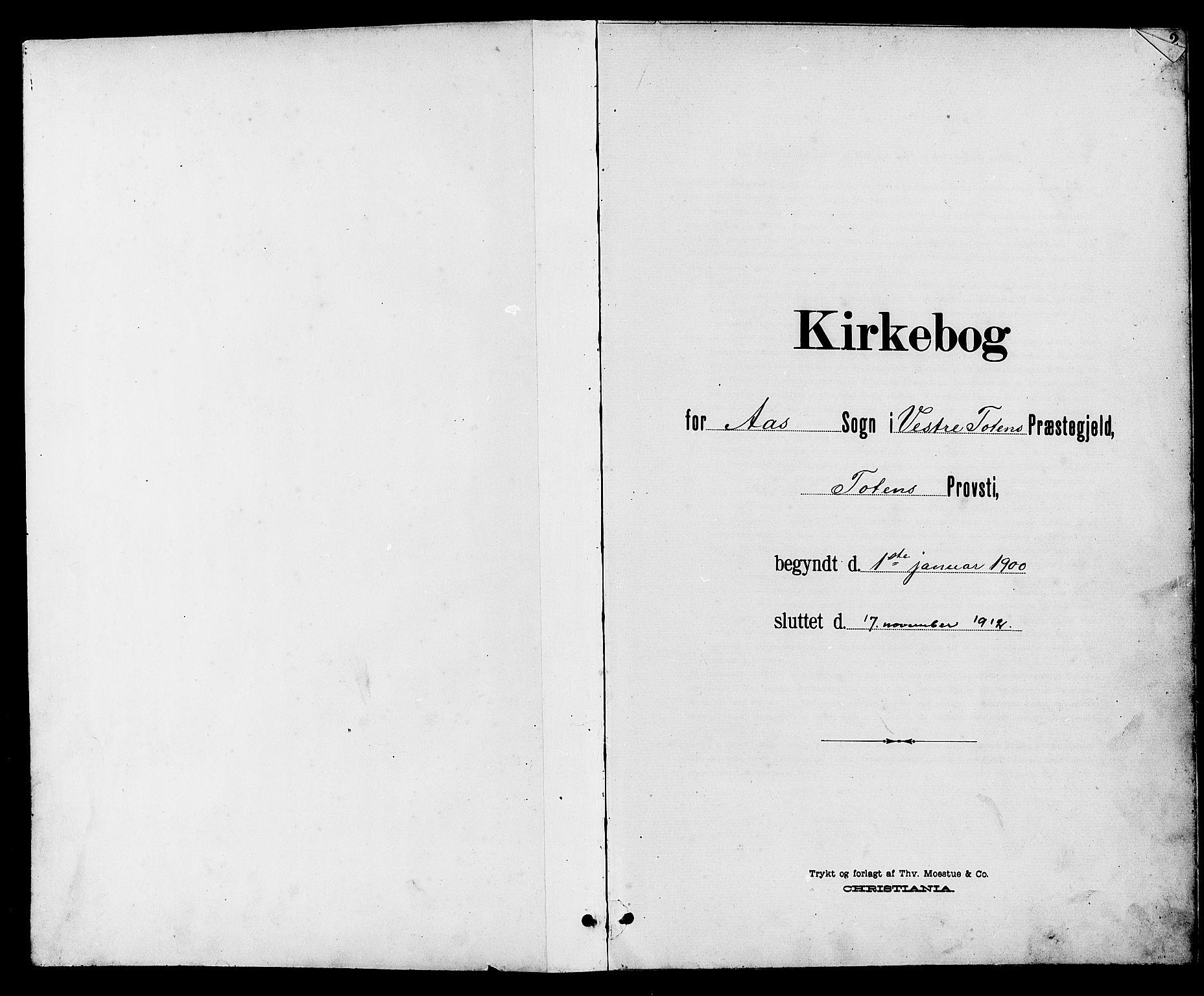 SAH, Vestre Toten prestekontor, Klokkerbok nr. 10, 1900-1912, s. 1
