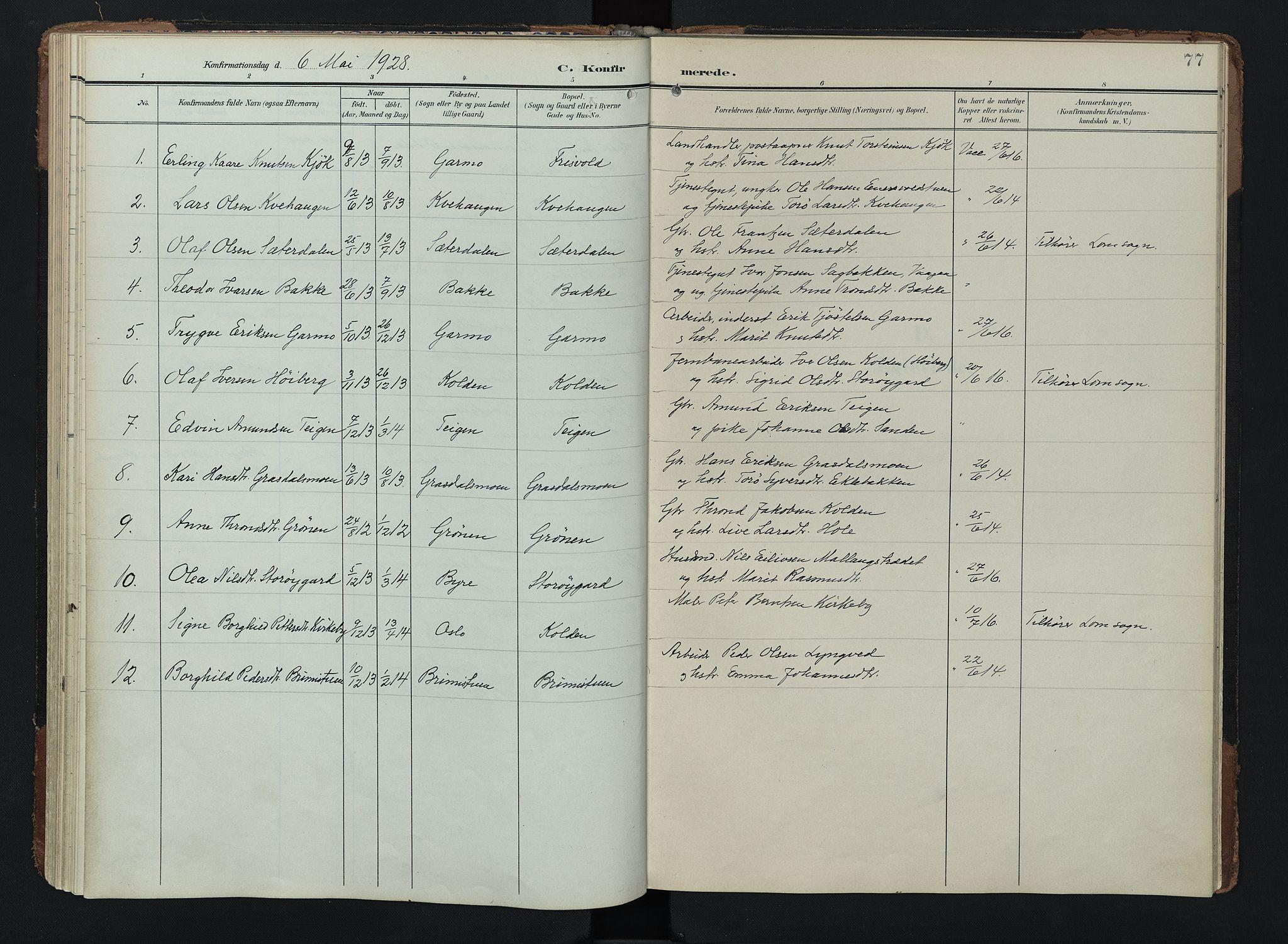 SAH, Lom prestekontor, K/L0011: Ministerialbok nr. 11, 1904-1928, s. 77