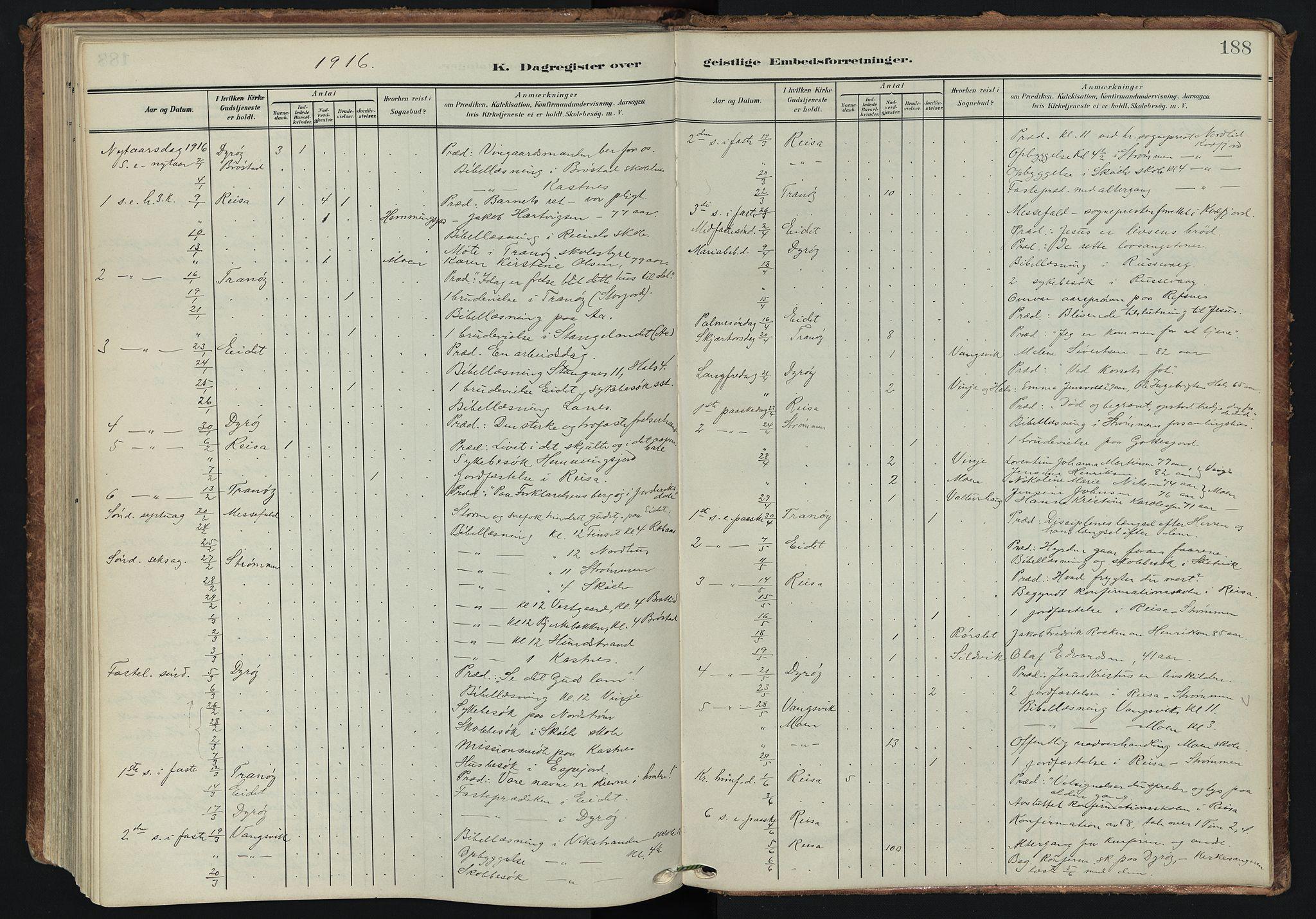 SATØ, Tranøy sokneprestkontor, I/Ia/Iaa/L0014kirke: Ministerialbok nr. 14, 1905-1919, s. 188
