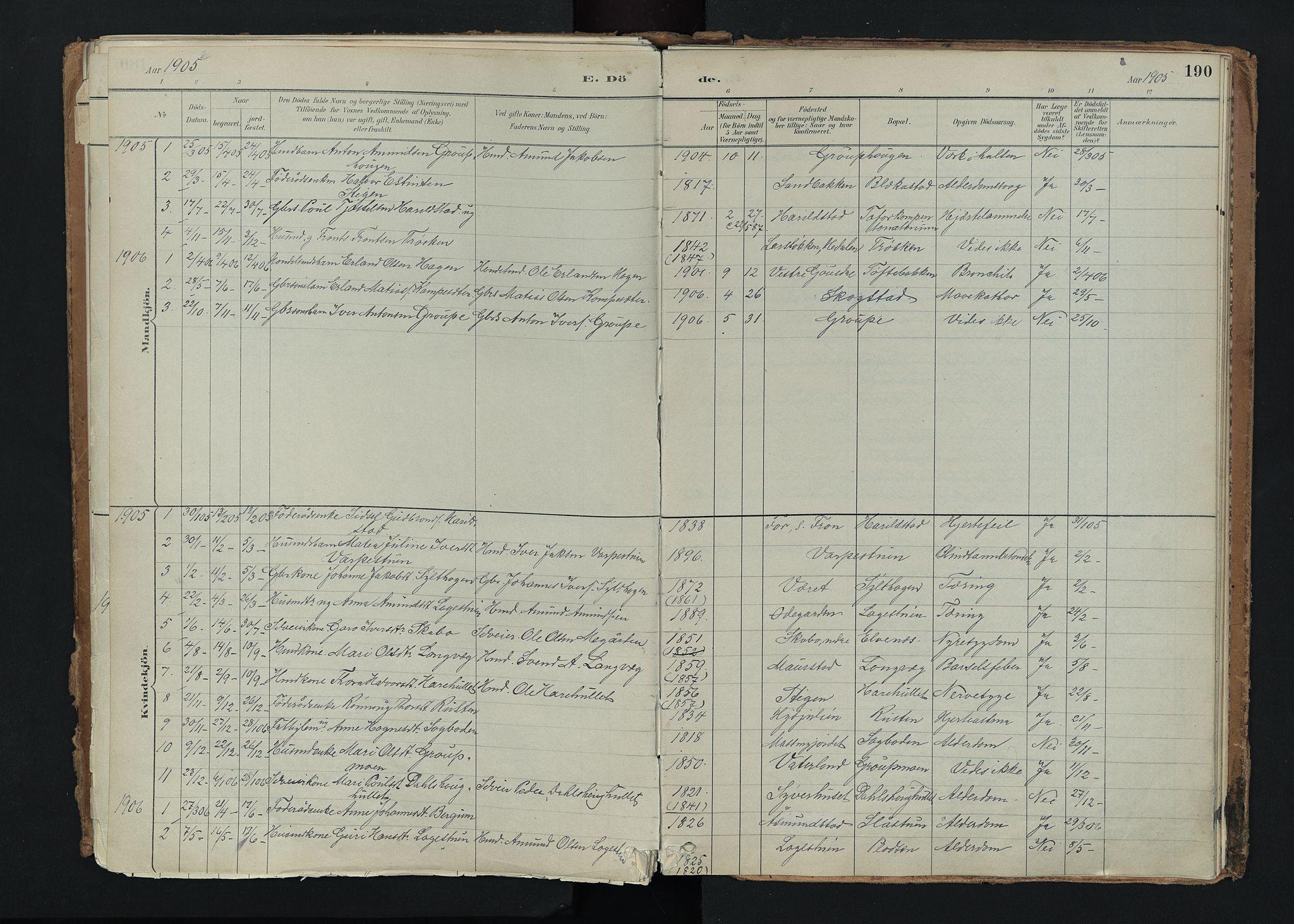 SAH, Nord-Fron prestekontor, Ministerialbok nr. 5, 1884-1914, s. 190