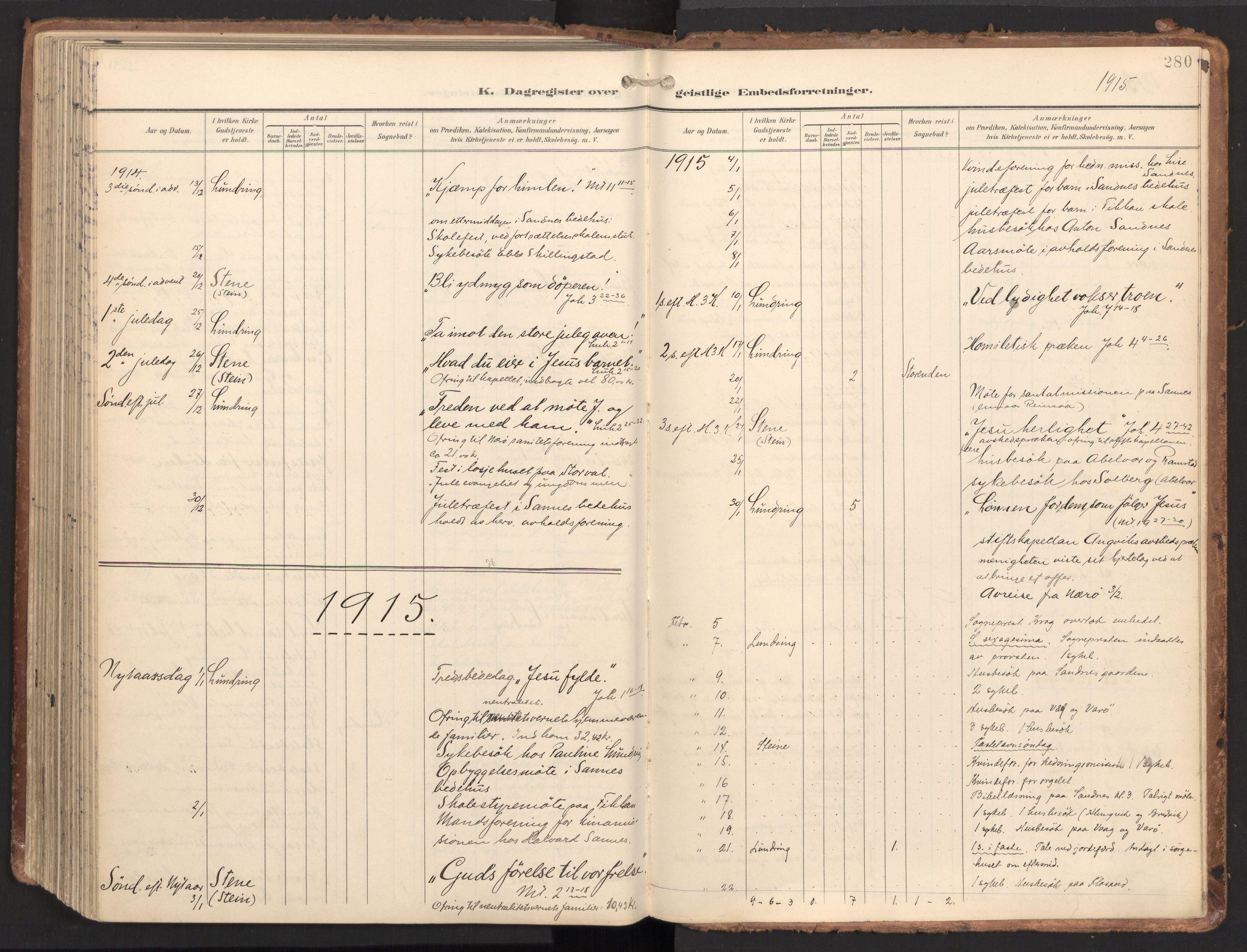 SAT, Ministerialprotokoller, klokkerbøker og fødselsregistre - Nord-Trøndelag, 784/L0677: Ministerialbok nr. 784A12, 1900-1920, s. 280