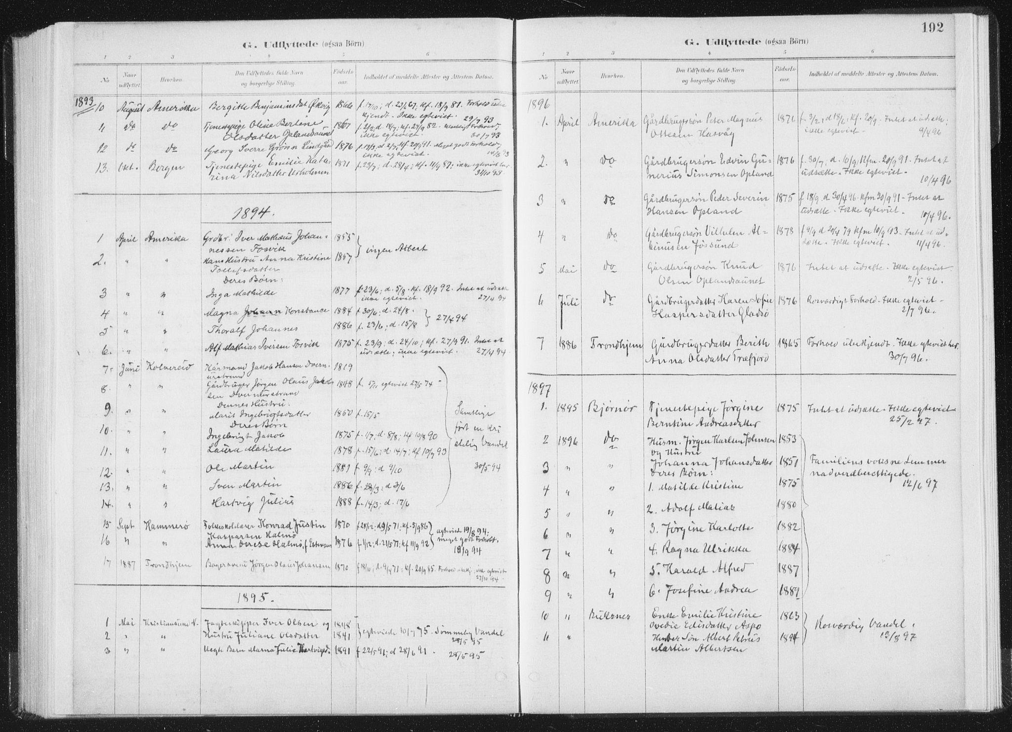 SAT, Ministerialprotokoller, klokkerbøker og fødselsregistre - Nord-Trøndelag, 771/L0597: Ministerialbok nr. 771A04, 1885-1910, s. 192