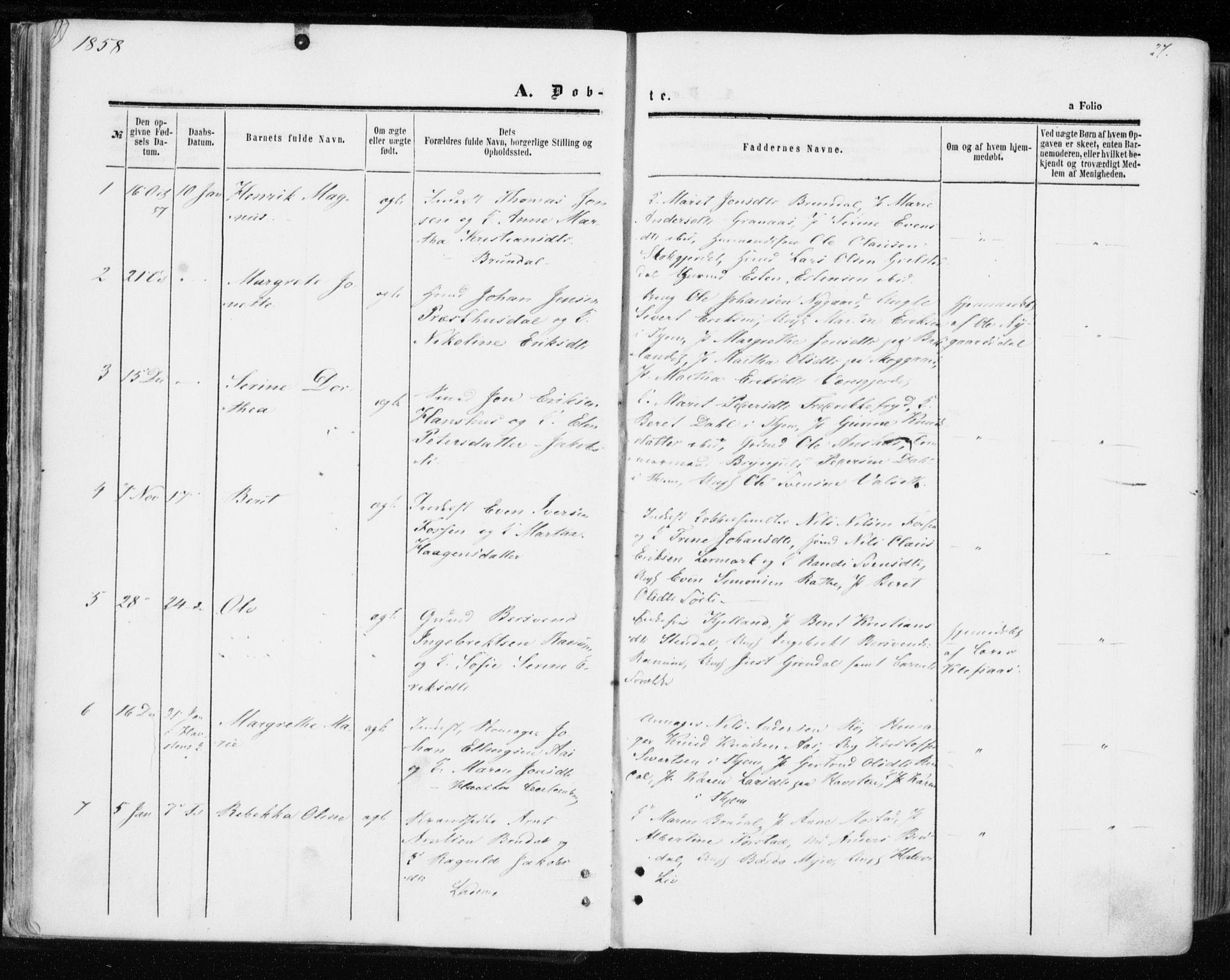 SAT, Ministerialprotokoller, klokkerbøker og fødselsregistre - Sør-Trøndelag, 606/L0292: Ministerialbok nr. 606A07, 1856-1865, s. 27