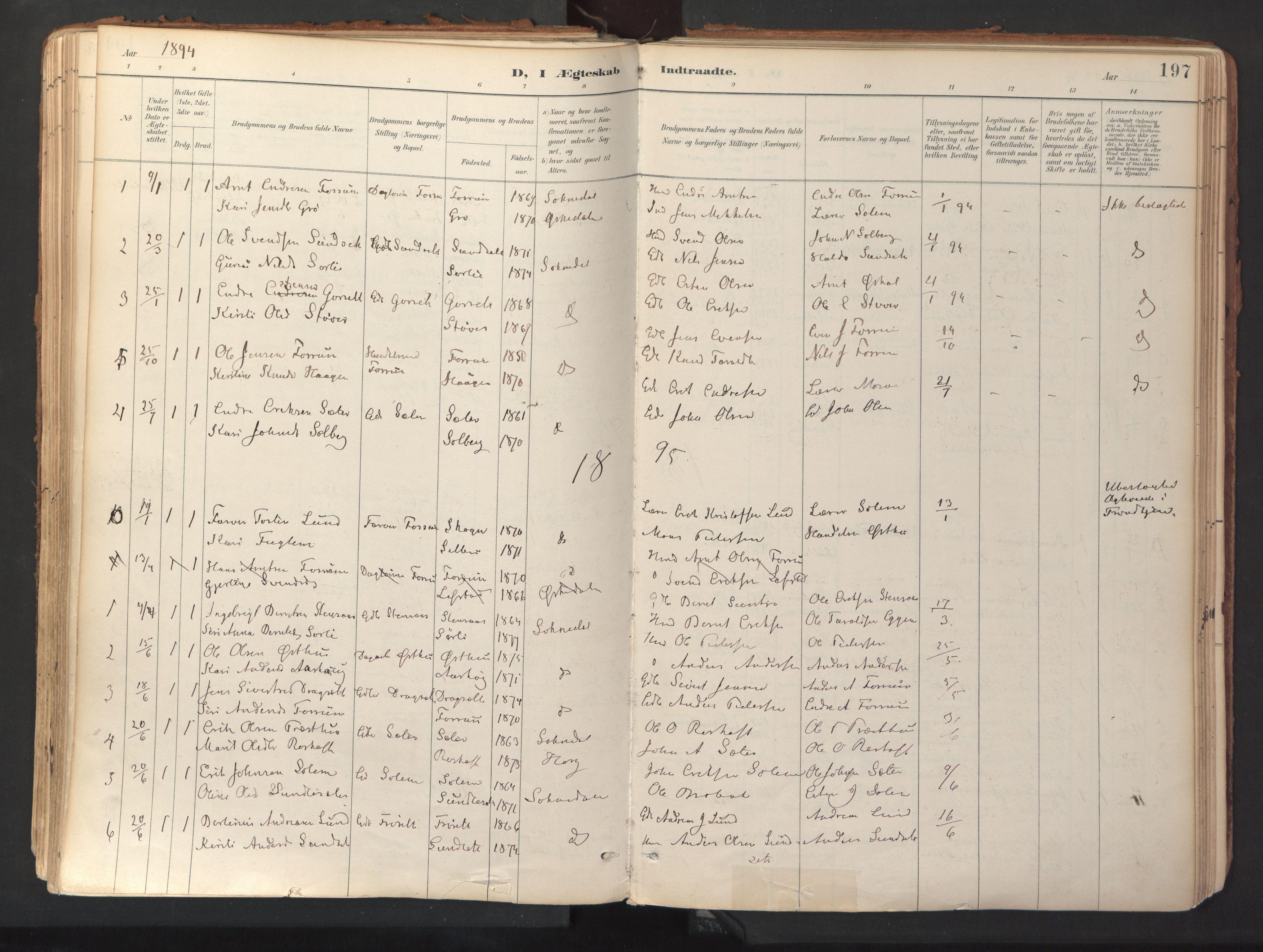 SAT, Ministerialprotokoller, klokkerbøker og fødselsregistre - Sør-Trøndelag, 689/L1041: Ministerialbok nr. 689A06, 1891-1923, s. 197