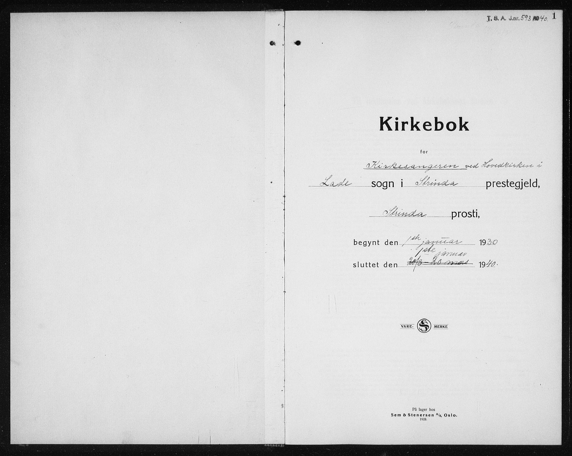 SAT, Ministerialprotokoller, klokkerbøker og fødselsregistre - Sør-Trøndelag, 607/L0327: Klokkerbok nr. 607C01, 1930-1939, s. 1