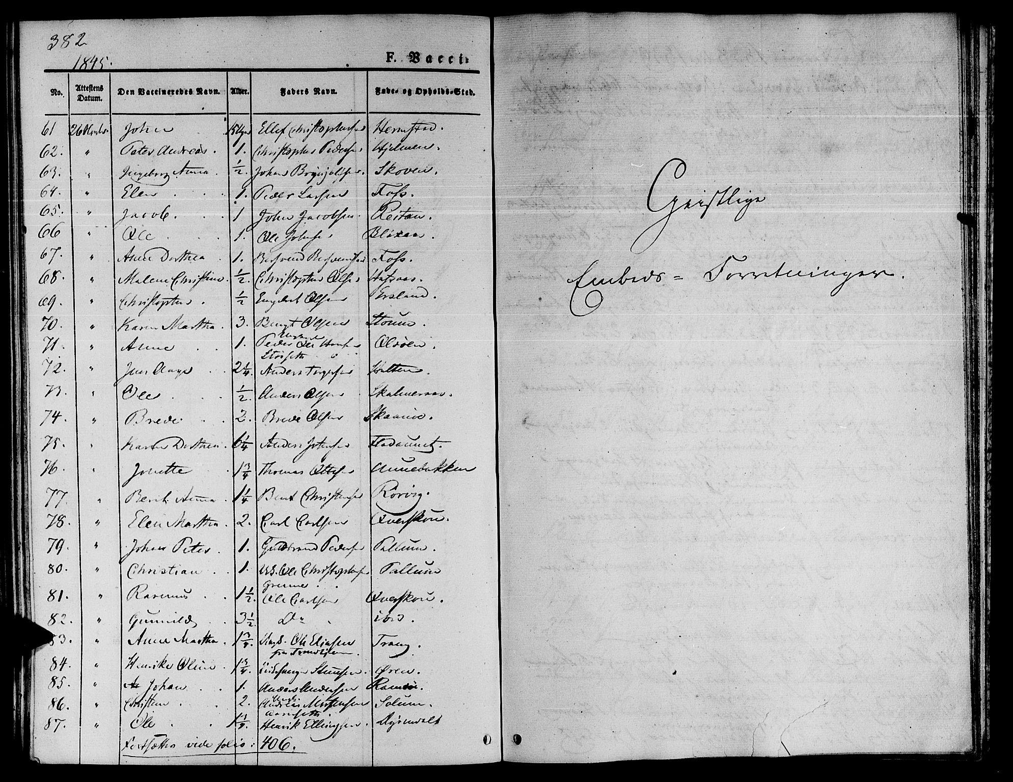 SAT, Ministerialprotokoller, klokkerbøker og fødselsregistre - Sør-Trøndelag, 646/L0610: Ministerialbok nr. 646A08, 1837-1847, s. 382