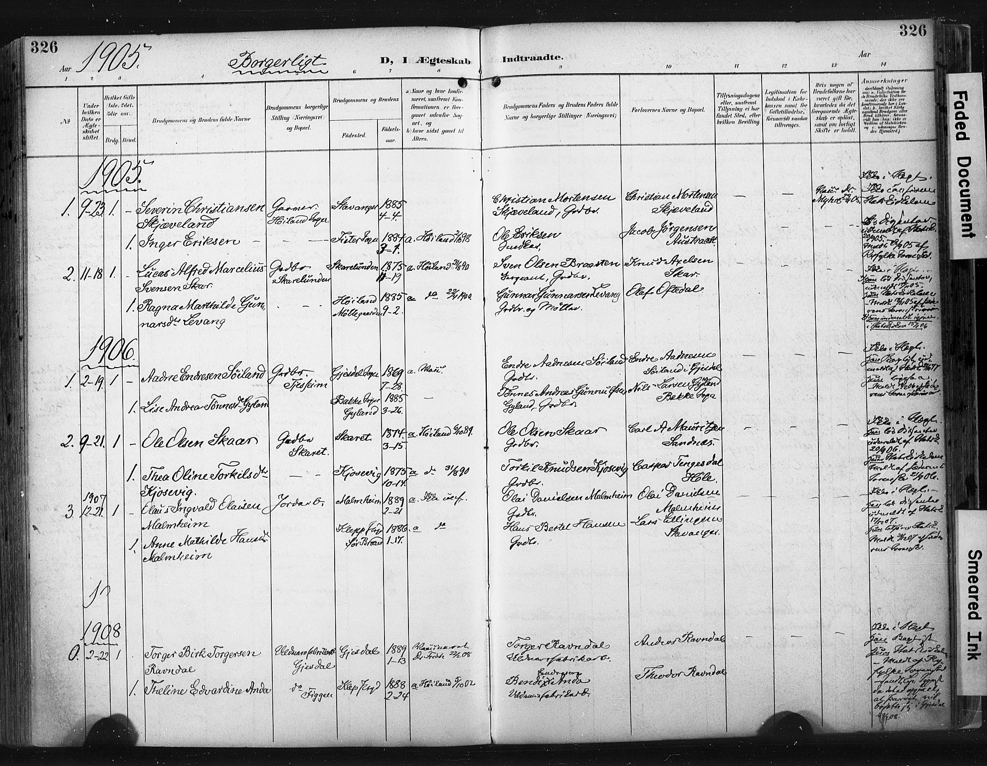 SAST, Høyland sokneprestkontor, 30BA/L0015: Ministerialbok nr. A 14, 1899-1911, s. 326