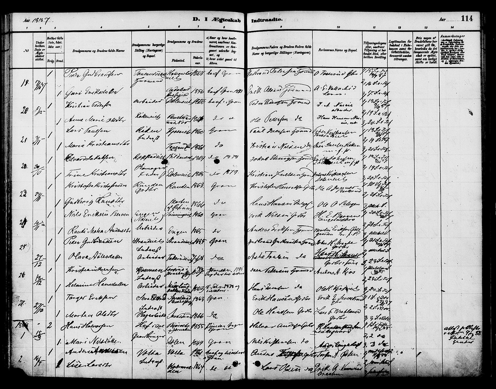 SAH, Gran prestekontor, Ministerialbok nr. 15, 1880-1888, s. 114