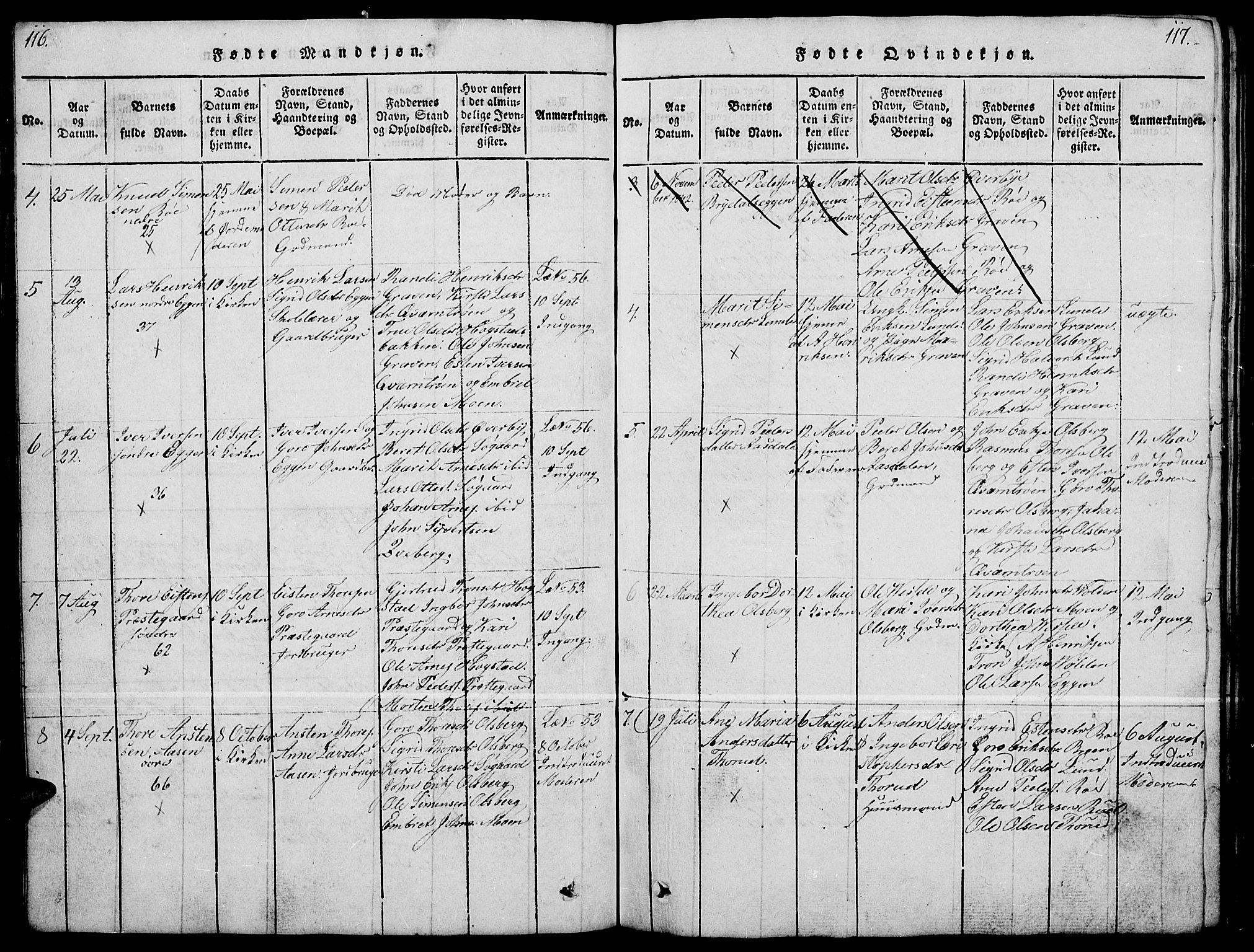 SAH, Tynset prestekontor, Klokkerbok nr. 4, 1814-1879, s. 116-117