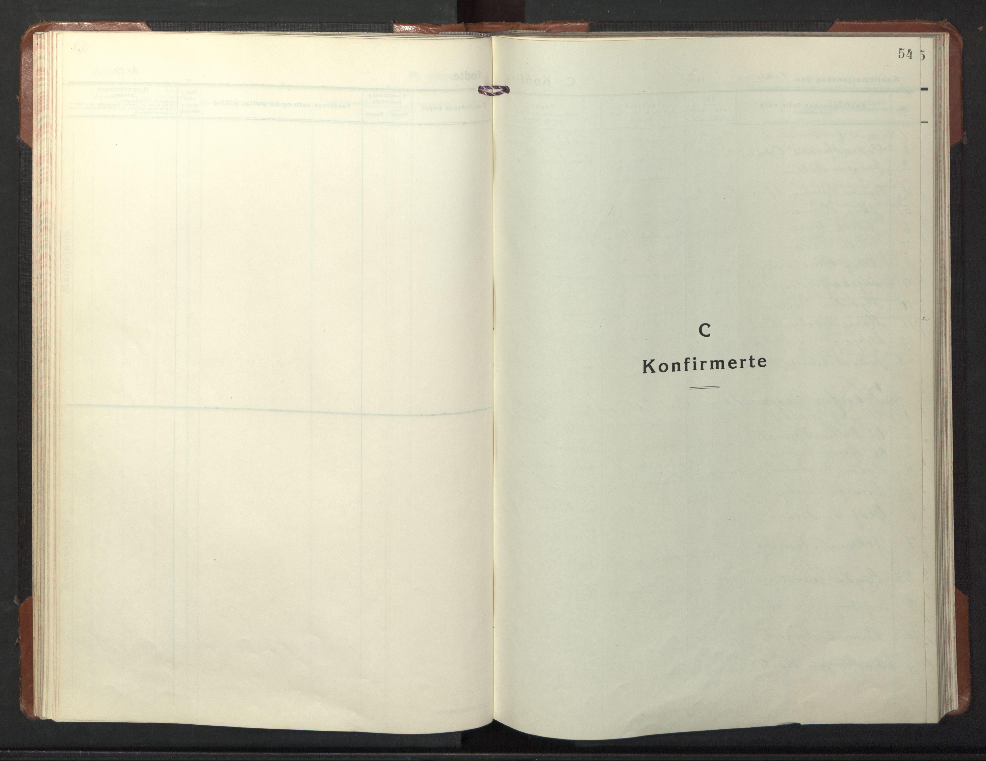 SAT, Ministerialprotokoller, klokkerbøker og fødselsregistre - Nord-Trøndelag, 722/L0227: Klokkerbok nr. 722C03, 1928-1958, s. 54